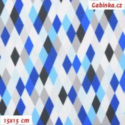 Kočárkovina Premium, Kosočtverečky modrošedobílé, šíře 160 cm, 10 cm