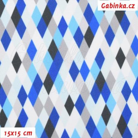 Kočárkovina Premium, Kosočtverečky modrošedobílé, 15x15cm