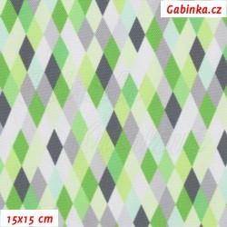 Kočárkovina Premium, Kosočtverečky zelenošedobílé, 15x15cm