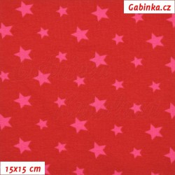 E-Látka úplet s EL - Hvězdičky malé a větší na červené, šíře 150 cm, 10 cm