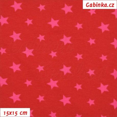 Úplet s EL, Hvězdičky malé a větší na červené, 15x15cm