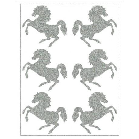 Reflexní nažehlovací postisk, Koníci, 6 ks