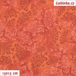 Plátno - Bezové kvítí červenooranžové, šíře 140 cm, 10 cm