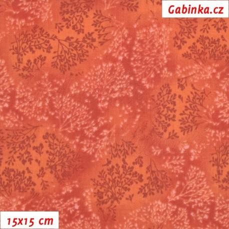Plátno, Bezové kvítí červenooranžové, 15x15cm