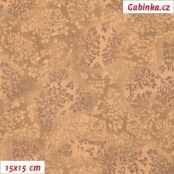 Plátno - Bezové kvítí hnědé, šíře 140 cm, 10 cm