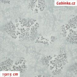 Plátno - Bezové kvítí šedé, šíře 140 cm, 10 cm