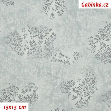 Plátno, Bezové kvítí šedé, 15x15cm