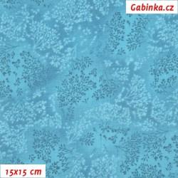 Plátno - Bezové kvítí tyrkysové, šíře 140 cm, 10 cm