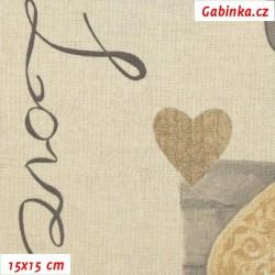 Režné plátno - Srdíčka s nápisem Love, šíře 140 cm, 10 cm