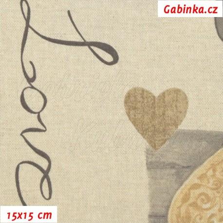 Režné plátno, Srdíčka s nápisem Love, 15x15cm
