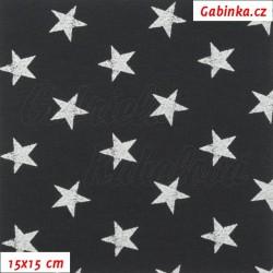 Teplákovina s EL - Hvězdy 2 cm bílé žíhané na černé, šíře 145 cm, 10 cm