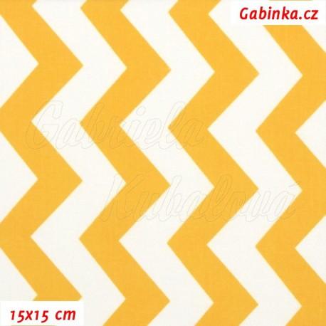 Plátno, Cik-cak oranžovožlutá a bílá, 15x15cm