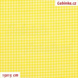 Plátno, Kolekce žlutá - Kostičky na jasně žlutých proužcích, 15x15cm