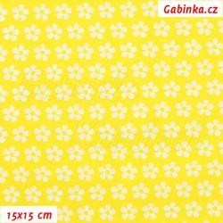 Plátno, Kolekce žlutá - Kytičky bílé na jasně žluté, 15x15cm