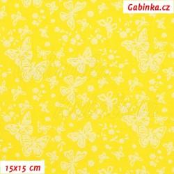 Plátno, Kolekce žlutá - Motýlci bílí TISK na jasně žluté, 15x15cm
