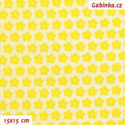 Plátno, Kolekce žlutá - Kytičky jasně žluté na bílé, 15x15cm