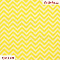 Plátno, Kolekce žlutá - Mini cik-cak jasně žlutá a bílá, 15x15cm