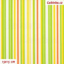 Plátno, Velikonoční proužky žluté zelené a oranžové na bílé, 15x15cm