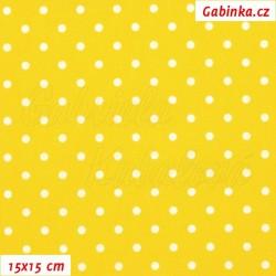 Plátno - Puntíky 4mm bílé na sytě žluté, šíře 150 cm, 10 cm, Atest 1