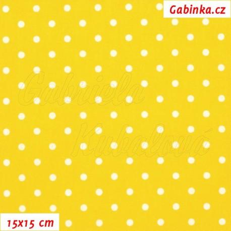 Plátno, Puntíky 4 mm bílé na sytě žluté, 15x15cm