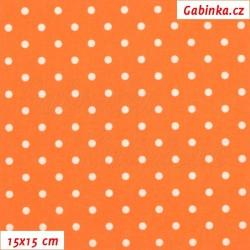 Plátno - Puntíky 4mm bílé na oranžové, šíře 150 cm, 10 cm