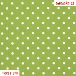 Plátno, Puntíky 4 mm bílé na zelené, 15x15cm
