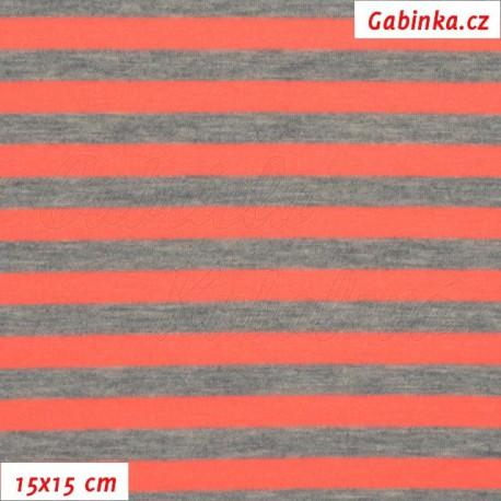 Úplet tričkovina, Proužky 10 a 9 mm šedé a neónově oranžové, 15x15cm