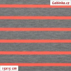 Úplet tričkovina - Proužky 18 a 6 mm šedé a neónově oranžové, šíře 150 cm, 10 cm