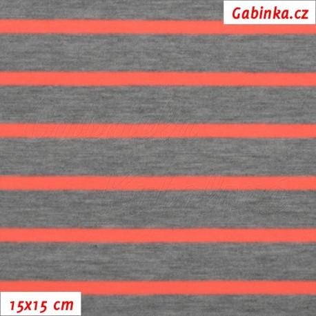 Úplet tričkovina, Proužky 18 a 6 mm šedé a neónově oranžové, 15x15cm