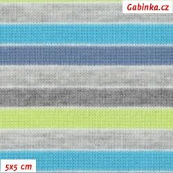 Náplet hladký, Proužky 6 mm šedé modré a zelené, 5x5 cm