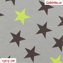 Náplet hladký, Hvězdy černé a zelené na šedé, 15x15 cm