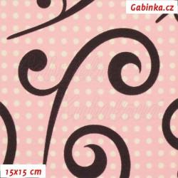 Kočárkovina, Ornamenty hnědé na bílých puntících na růžové, 15x15cm