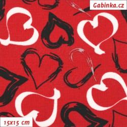 Kočárkovina MAT, Srdíčka malovaná bílá a černá na červené, šíře 160 cm, 10 cm, Atest 1