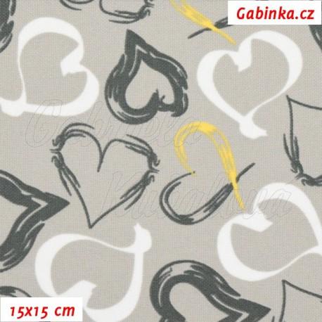 Kočárkovina, Srdíčka malovaná bílá tm. šedá a žlutá na sv. šedé, 15x15cm