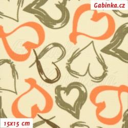 Kočárkovina MAT, Srdíčka malovaná oranžová a sv. hnědá na smetanové, šíře 160 cm, 10 cm, Atest 1