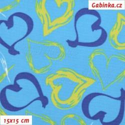 Kočárkovina MAT, Srdíčka malovaná limetková a tm. modrá na modré, šíře 160 cm, 10 cm, Atest 1