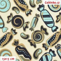 Kočárkovina MAT, Bonbóny hnědomodré na smetanové, šíře 160 cm, 10 cm, Atest 1