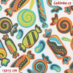Kočárkovina, Bonbóny oranžovotyrkysovozelené na bílé, 15x15cm