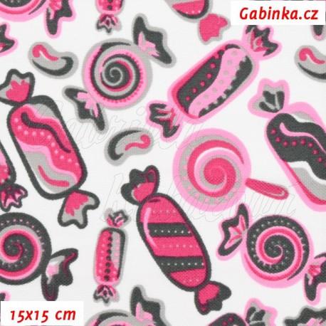 Kočárkovina, Bonbóny růžovošedé na bílé, 15x15cm