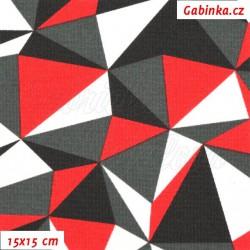 Kočárkovina MAT, Trojúhelníky červené bílé a šedé, šíře 160 cm, 10 cm, Atest 1