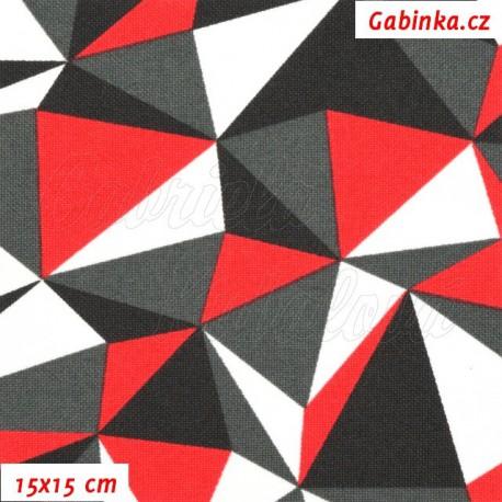 Kočárkovina, Trojúhelníky červené bílé a šedé, 15x15cm