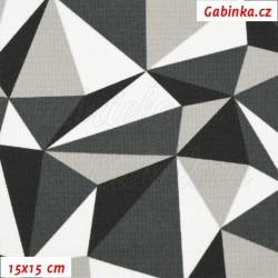 Kočárkovina MAT, Trojúhelníky černé bílé a šedé, šíře 160 cm, 10 cm, Atest 1