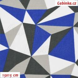 Kočárkovina MAT, Trojúhelníky modré bílé a šedé, šíře 160 cm, 10 cm, Atest 1