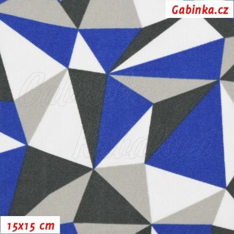 Kočárkovina, Trojúhelníky modré bílé a šedé, 15x15cm