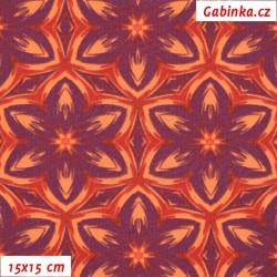 Kočárkovina MAT, Kaleidoskop oranžovofialový, šíře 160 cm, 10 cm, Atest 1