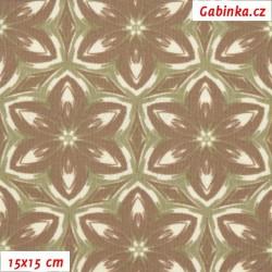 Kočárkovina MAT, Kaleidoskop smetanovohnědý, šíře 160 cm, 10 cm, Atest 1
