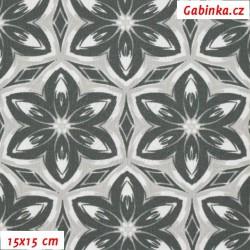 Kočárkovina MAT, Kaleidoskop šedobílý, šíře 160 cm, 10 cm, Atest 1