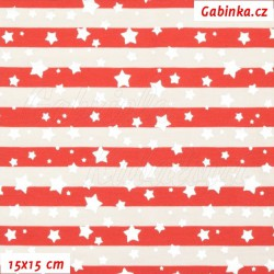 Úplet s EL - Stříbrné hvězdičky na červených a bílých proužcích, 15x15cm
