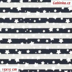 Úplet s EL - Stříbrné hvězdičky na tm. modrých a bílých proužcích, 15x15cm