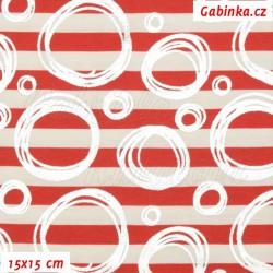 Úplet s EL - Stříbrná kolečka na červených a bílých proužcích, 15x15cm